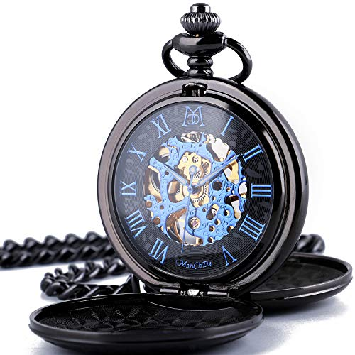 (ManChDa Automatic Mechanical Roman Numerals Dial Skeleton Pocket Watches with Gift Box and 2 Chains for Mens Women)