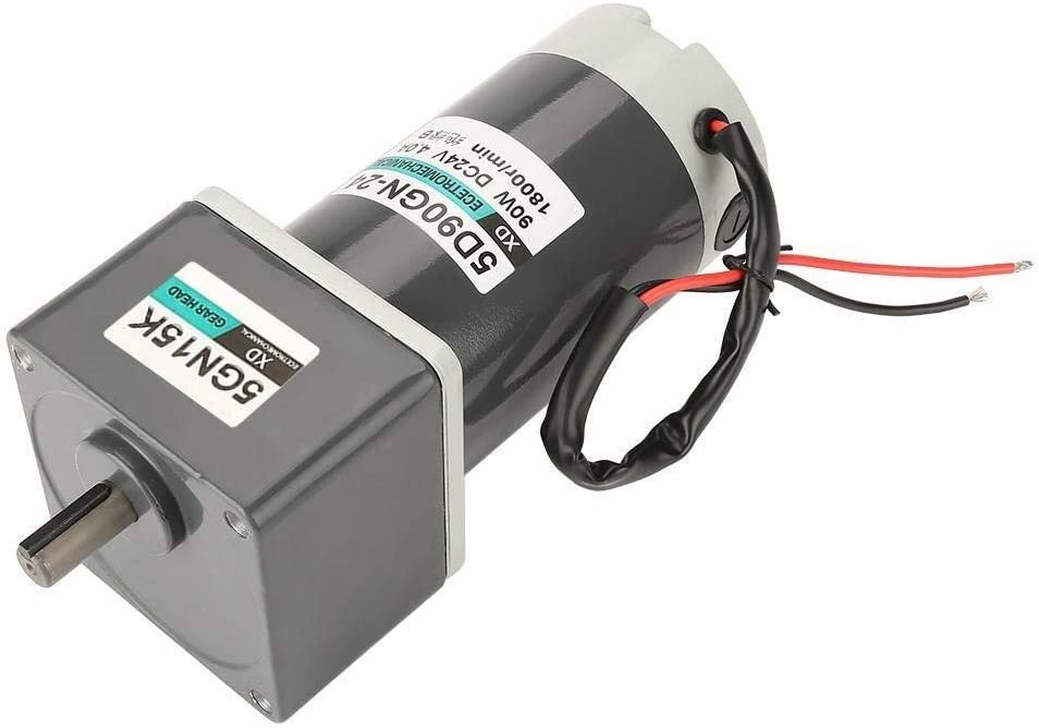 SH-CHEN Reduction Geared Motor Industrial Motors DC 24V 90W 10-1000rpm CW//CCW Adjustable Rate Permanent Magnet Gear Motor with Bolts for Industrial Devices Home Applications 15K