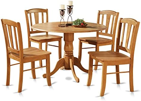 picture of DLin5-OAK-W 5 Pc small Kitchen Table and Chairs