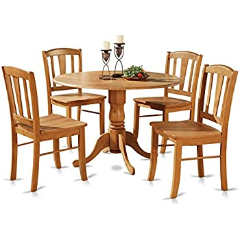 east west furniture dlin5oakw 5piece round kitchen table and 4