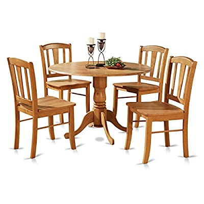 DLin5-OAK-W 5 Pc small Kitchen Table and Chairs set-round Table and 4 dinette Chairs Chairs - 5 piece Dublin Round Table with two 9 inch Drop Leavesand 4 wood seat chairs in a warm Oak finish Round dining table offers two 9-Inch Drop Leaves. Excellent for small kitchen spaces. Held up by an unique pedestal, this type of round dinette even offers versatile two drop leaves - kitchen-dining-room-furniture, kitchen-dining-room, dining-sets - 51KE JgvZ7L. SS400  -