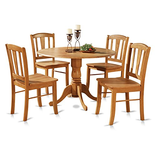 East West Furniture DLIN5-OAK-W 5-Piece Round Kitchen Table and 4 Dinette Chairs Set, Oak Finish (Round Dining Room Tables Sets)