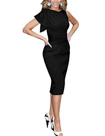 Mulanbridal Womens Celebrity Elegant Ruched Wear To Work Party Prom Bodycon Dress Vintage Cocktail Gowns Black
