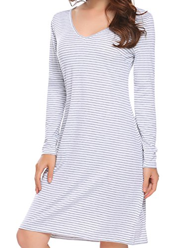 Tops Beyove T Sleeve Pattern 2 Tunic Women's Striped Casual Long Simple Loose Shirt Dress r66ZBP7qw