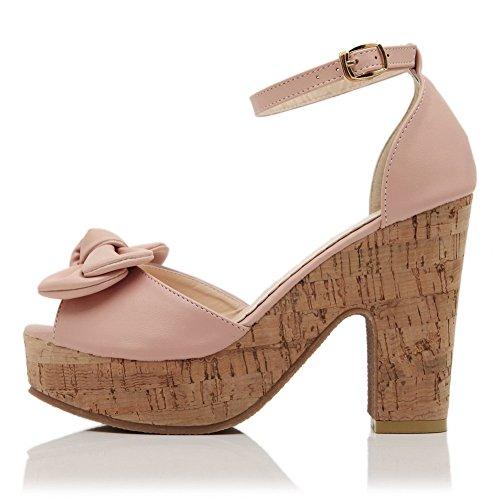 Material Sandalen rosa High Open Womens weiches PU feste Schnalle Peep Toe Heels VogueZone009 mit Toe wBRFqazP