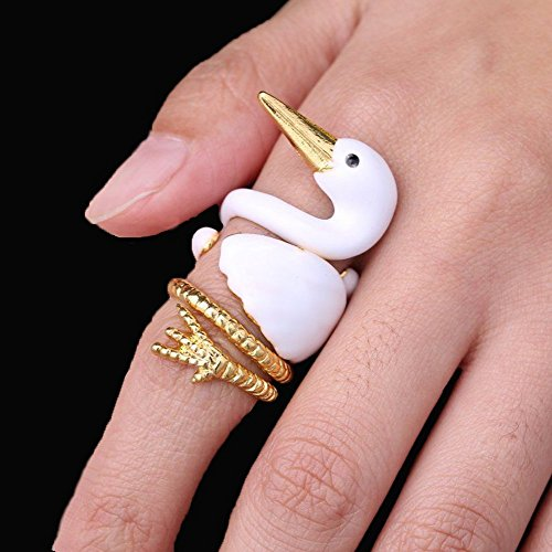 Pettstore 3PCS Stack Rings Cute Open Joint Knuckle Animal Nail Ring Set Goose/Squirrel/Elk Ring Cute Christmas Animal Finger Ring