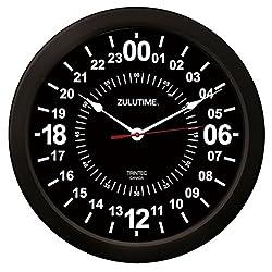 Trintec 24 Hour Military Time SWL Zulu Time 24Hr Wall Clock 10 Black Dial