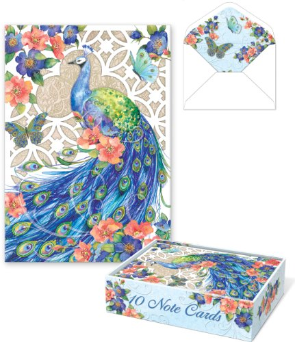 Punch! Software Die-Cut Peacock Note Cards -- Set of 10 B...