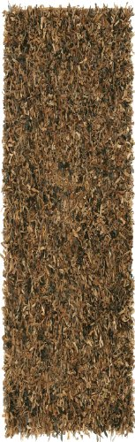 Brown Leather Shag 2.5'x12' - Brown Pelle Leather Rug