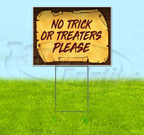 Halloween No Trick Or Treaters Sign (No Trick Or Treaters Please Scroll (18