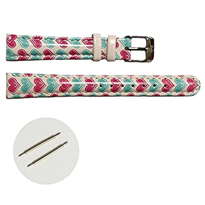 Alexis 14mm Pink Print Blue Pattern Faux Leather Girls Watch Band Straps 1015E by China Mart Industrial Co.