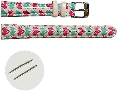 14mm Pink Print Blue Pattern Faux Leather Girls Watch Band Straps USWB1015E14FB