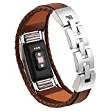 for Fitbit Charge 2 Leather Bands Metal Clasp Leather Cord Wristband Bracelet Small Light Brown