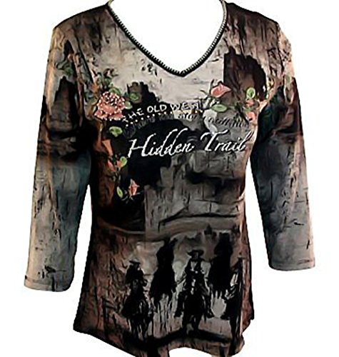 Katina Marie - Hidden Trail, 3/4 Sleeve, Rhinestone Accents, Western Themed, ...