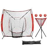 Pinty Baseball Softball Practice Net 7×7 Hitting Batting Net w/Strick Zone Target + Ball Caddy + Weighted Training Balls & Carry Bag