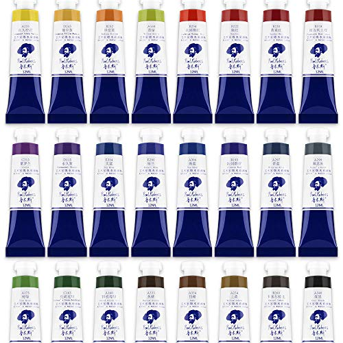 Paul Rubens Watercolor Tubes, 24 Colors x 12ml Tubes Artist Grade Watercolor Paints Set, Extra Fine Highly Pigmented Paint Perfect for Hobbyist and Artist ()