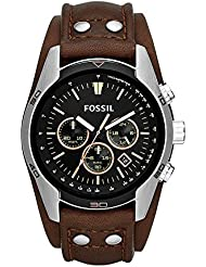Fossil Men's 'Coachman' Quartz Stainless Steel and Leather Casual Watch, Color:Brown (Model: CH2891)