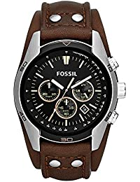 Men's 'Coachman' Quartz Stainless Steel and Leather Casual Watch, Color:Brown (Model: CH2891)