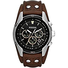 Fossil Men's Coachman Quartz Stainless Steel and Leather Chronograph Watch, Color: Silver, Brown (Model: CH2891)