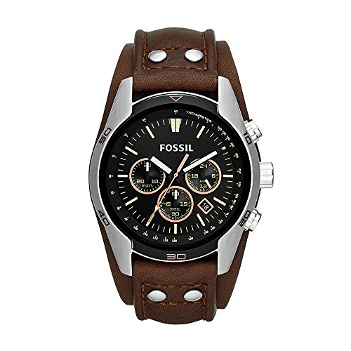 Fossil Men's Coachman Quartz Stainless Steel and Leather Casual Watch Color: Silver, Brown (Model: CH2891)