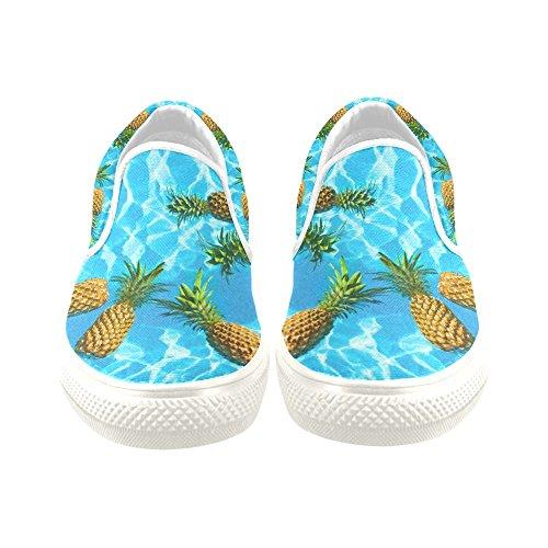 D-story Custom Sneaker Pineapples Que Flotan En Agua Pura Mujeres Zapatos De Lona Antideslizantes Inusuales
