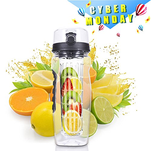Fruit Infused Water Bottle, Cakie 32OZ Large Sports Infuser Water Bottle with BPA Free Plastics for Sports & Fitness Enthusiasts, Ideal for Your Office and Home (Sports Enthusiast)