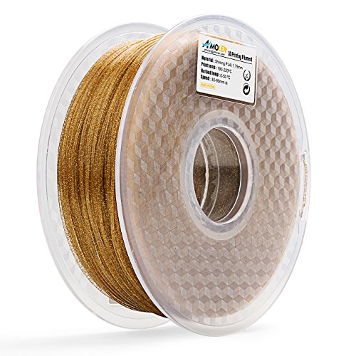 AMOLEN 3D Printer PLA Filament 1.75mm, Shining Gold, 1KG(2.2lb) +/-0.03 mm, Includes Sample Temp Color Change from Black to Brown to Yellow Filament.