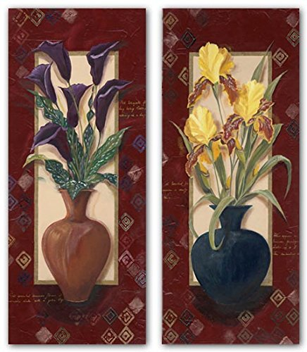 Bordered Calla Lilies (Purple Calla Lily~Yellow Iris by Hawkins~Set 2 Bordered Floral 8 X 20 UNFRAMED Art Prints)