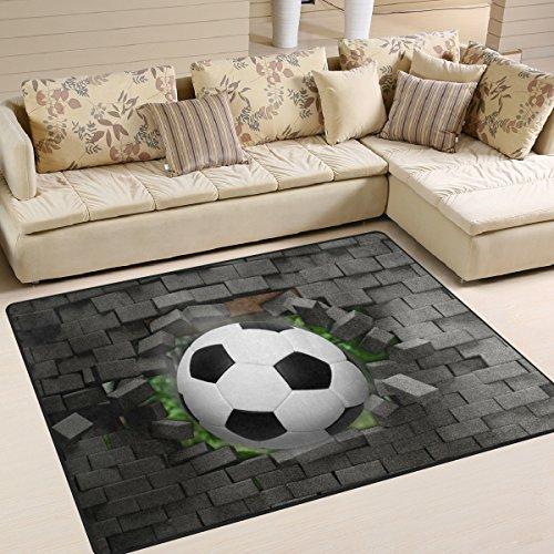 ZOEO Non Slip Area Rugs 3D Football Soccer Brick Sofa Mat Living Room Bedroom Carpets Doormats Home Decor 5x7 by ZOEO