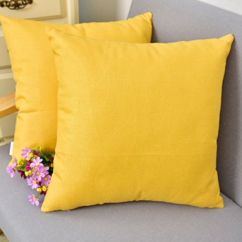NATUS WEAVER Woven Fine Faux Linen Throw Cushion Case Pillow Cover with Invisible Zipper for Small Sleep, 18 x 18 - inch, Yellow, 2 Pieces ()