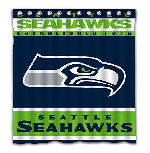 Potteroy Seattle Seahawks Team Design Shower Curtain Waterproof Mildew Proof Pol