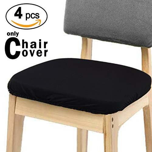 Voilamart Chair Seat Covers, Dining Chair Cover, Stretchable Soft Chair Protectors Slipcovers for Bar Stools Dining Room Patio Office Chair, Pack of 4, Black (Bar Covers Chair Seat)