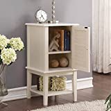 1PerfectChoice Hilda Storage Side Table Cabinet Window Shutter Design Door Shelf White