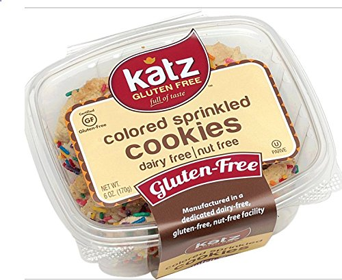 Katz Gluten Free Colored Sprinkled Cookies, 6 Ounce, Certified Gluten Free - Kosher - Dairy & Nut free (Pack of 6)