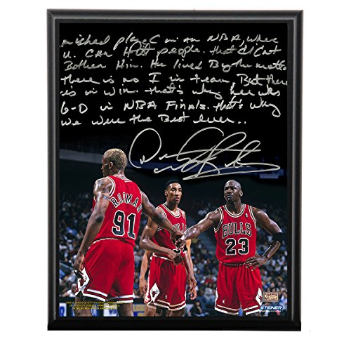 Dennis Rodman Facsimile Playing With Michael Jordan Metallic 8 Inches By 10 Inches Story Plaque