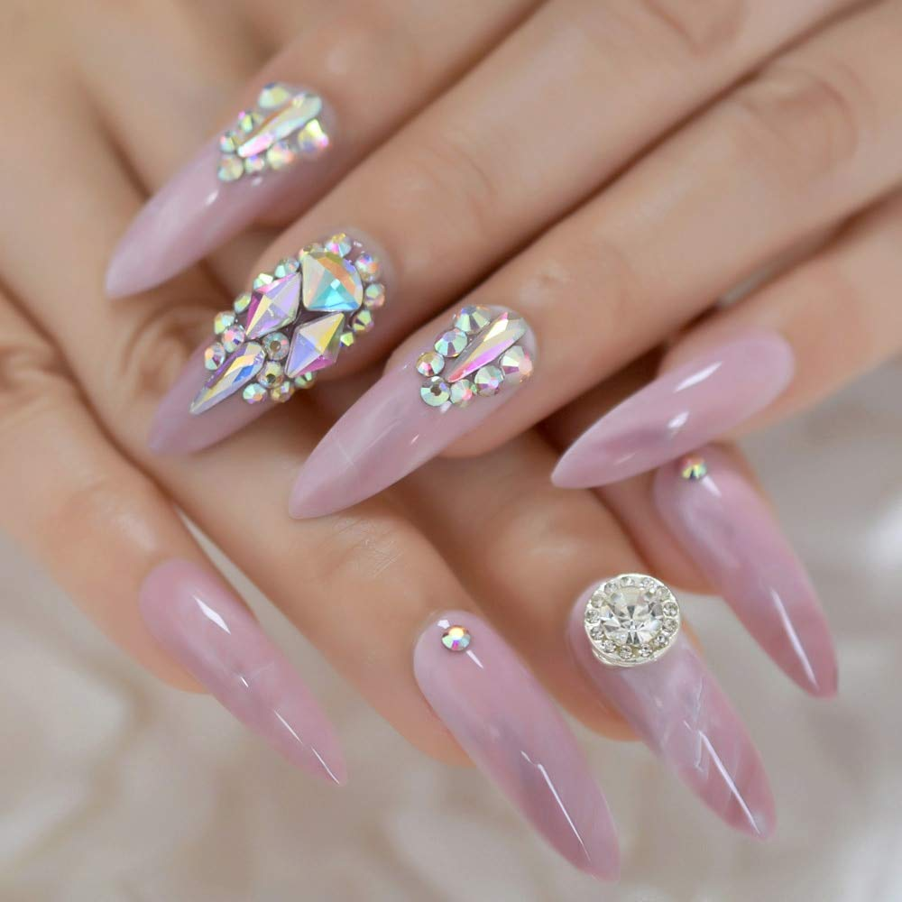CoolNail 3D Luxery Colorful Gems Extra Long Stiletto False Nails Tips Pointed Sharp Stilettos Fake Nail Marble Pink UV Gel Press on Nails