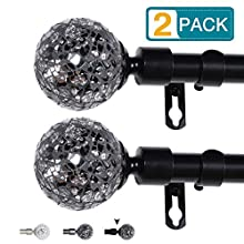 PrimeBeau 3/4 Inch Diameter Decorative Curtain Rods for Windows 48 to 84 Inch Single Window Treatment Rod Set with Sparkling Mosaic Balls Finial (Antique Black, 2 Pack)