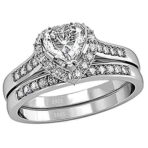 MABELLA Cubic Zirconia Heart Promise Rings Wedding Band Engagement Ring Bridal Sets 925 Sterling Silver -