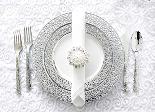 Royalty Settings Silver Inspiration Collection Lace Plastic Plates and Cutlery Party Package for 20 Persons, Includes 20 Dinner Plates, 20 Salad Plates, 40 Forks, 20 Knives, 20 Spoons, White/Silver -