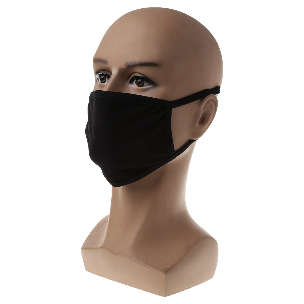 yangerous 2pcs Black Unisex Mouth Face Mask Anti-Dust Solid Color Cotton Respirator for Men and Women