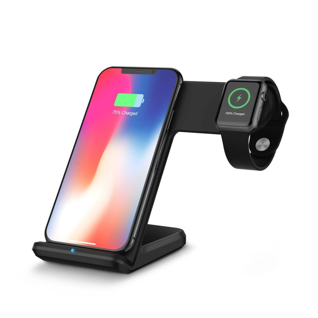 2 in 1 10W Qi Wireless Fast Charger Stand for Apple Watc iPhone8/8 Plus/X/Samsung Galaxy S8/S9/Note 8/Note 7/Note 5/S6 And Other Qi Compliant Device (Black)