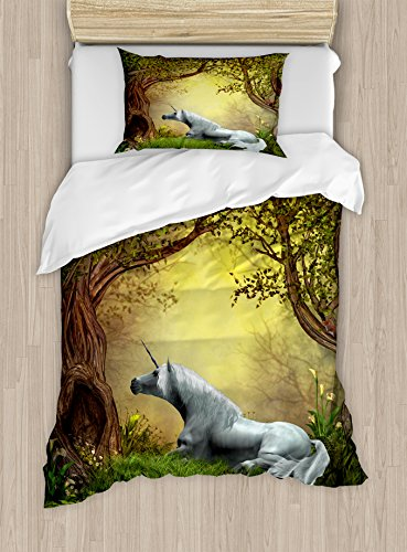 Enchanted Twin Comforter - Ambesonne Unicorn Duvet Cover Set Twin Size, Enchanted Forest Fantasy Magical Willow Trees Wildflowers Woodland Animal Folklore, Decorative 2 Piece Bedding Set with 1 Pillow Sham, Green White