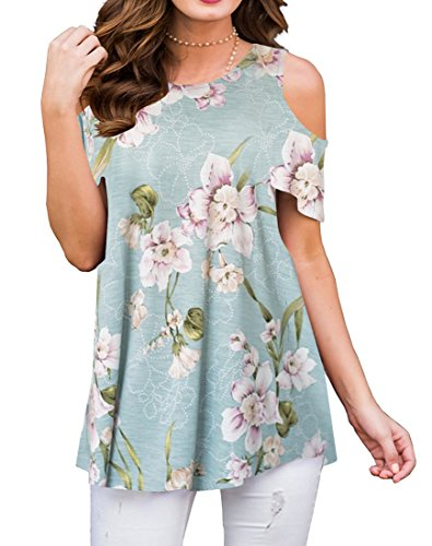 (MIROL Women's Summer Short Sleeve Off Shoulder Floral Printed Tunic Tops Blouse)