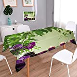 PINAFORE HOME Washable Cotton Linen Fabric spa Still Life with Zen Stones ARO ic Candles and Orchids Dining Room Kitchen Rectangular Table Cover/W52 x L52 Inch