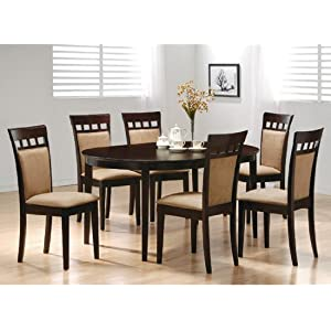 Amazon.com - Light Grey Linen 7pc Oval Solid Top Dining Table ...