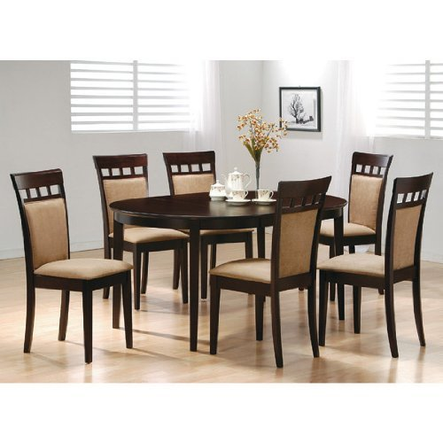 cappuccino contemporary oval amazon chairs dining com finish solid dp sets chair table wood set