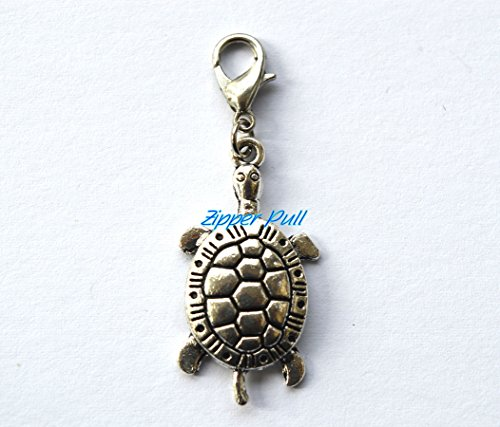Antique Silver Lovely Sea Turtle Tortoise Charm Pendant,Zipper Pull, Perfect for Necklaces, Bracelets , keychain and earrings (Earrings Charm Turtle)