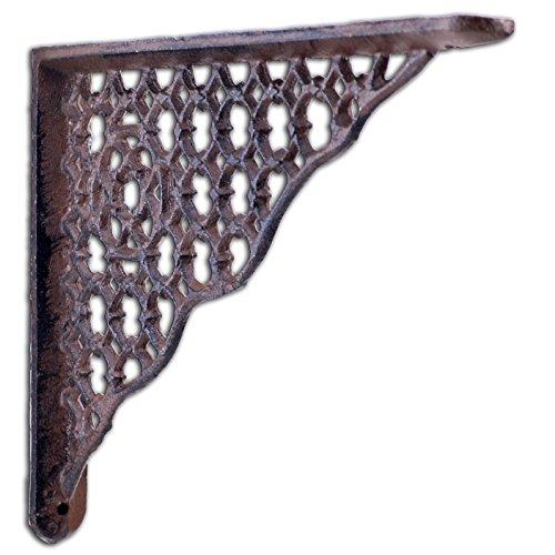 "Decorative Shelf Bracket Ornate Lattice Rust Brown Cast Iron Brace 8.5"""