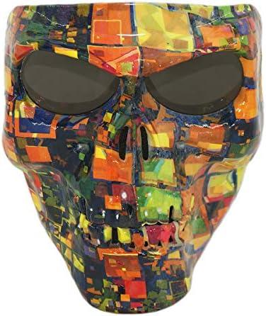 Vhccirt Motorrad-Schutzmaske, mit polarisierten Brillengläsern, Skimaske, Halloween Totenkopfmaske