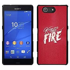 EJOY---Cubierta de la caja de protección para la piel dura ** Sony Xperia Z3 Compact ** --Pink Texto fuego corazón blanco Llamas Amor